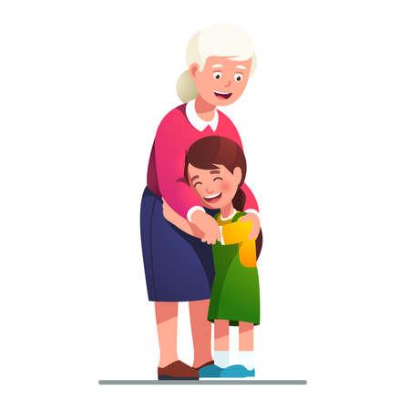 Smiling grand mother embracing grand daughter kid
