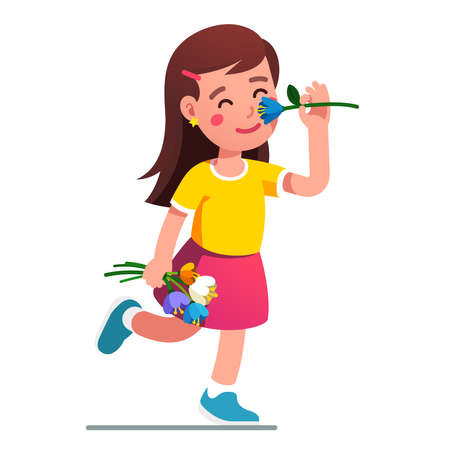 Girl smelling flower. Kid holding tulip bouquet