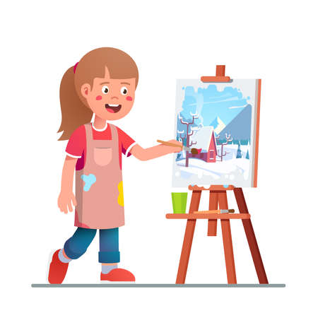 Artist girl kid painting winter picture on canvas