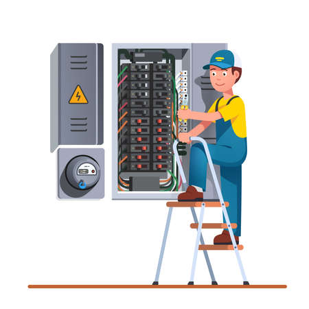 Electrician engineer man working with fuse box