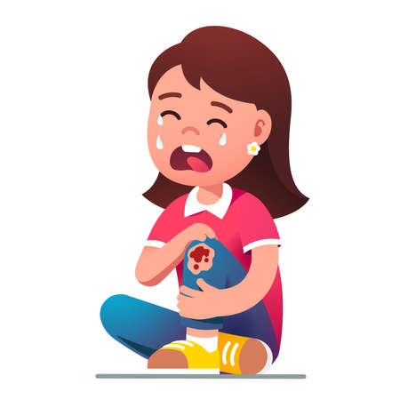 Kid girl sitting crying in pain over hurt knee 矢量图像
