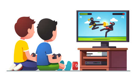 Boys kids sitting at tv screen with controllers