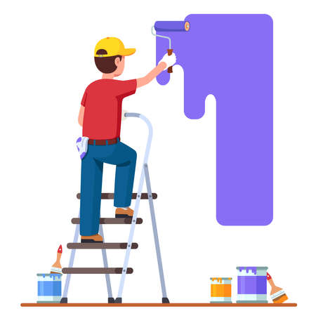 Painter man painting house wall with roller brush 矢量图像