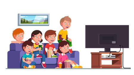 Boys, girls sitting on sofa watching movie show 矢量图像