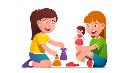 happy joyful girls kids playing dressing dolls 矢量图像