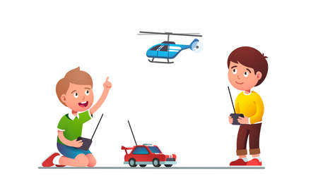 Boys kids playing with radio-controlled toy car 矢量图像