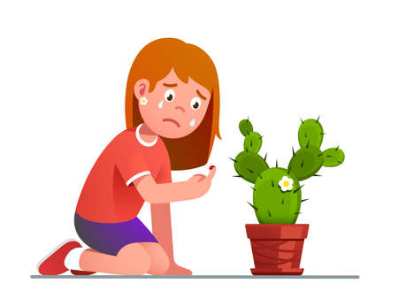 Girl crying over cactus thorn sting pricked finger 矢量图像
