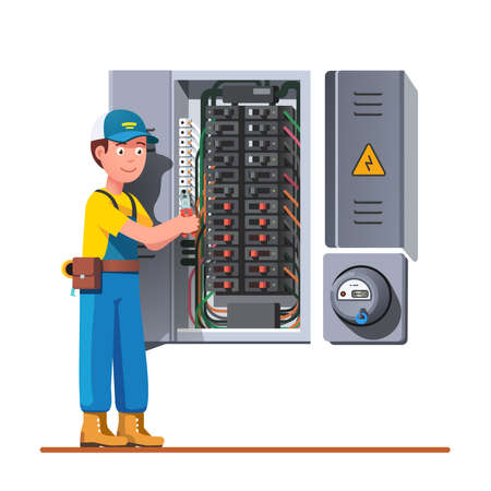 Engineer man working with breaker and fuse box