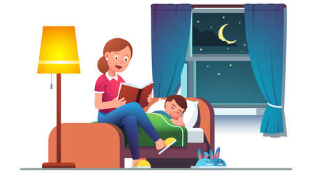 Mother reading bedtime story book to son kid