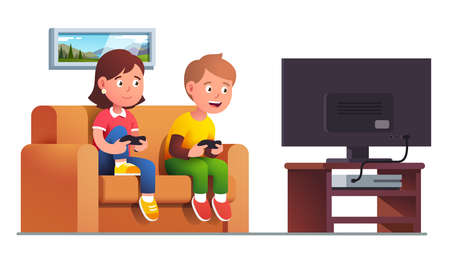 Boy, girl sit on sofa playing console video game