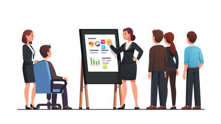 Manager woman doing black board business diagram