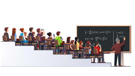 Professor writing formula on big class blackboard Illustration