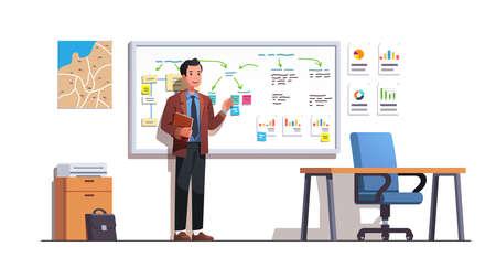 Man preparing businesses presentation in his office 矢量图像