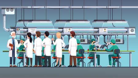 Scientific engineers wearing lab coats at factory 矢量图像