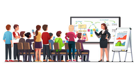 Business class woman teaching young students group 矢量图像