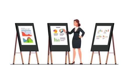 Analyst woman doing business black board diagram 矢量图像