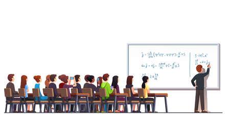 Professor writing formula on big white blackboard 矢量图像