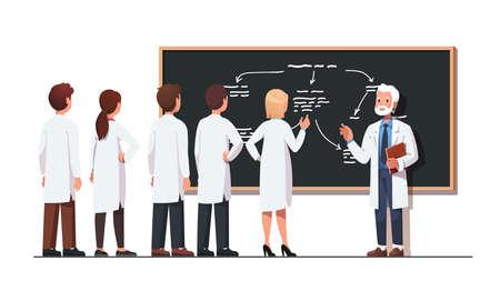 Professor solving science problem with student team 矢量图像