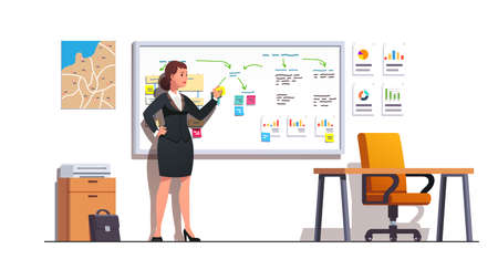 Woman planning business presentation in her office