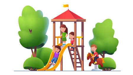 School, preschool kids play at park playground