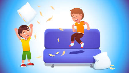 Kids playing with pillows and jumping on a sofa