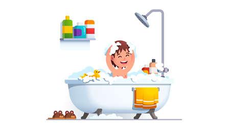 Kid having bath washing head and body with shampoo 矢量图像