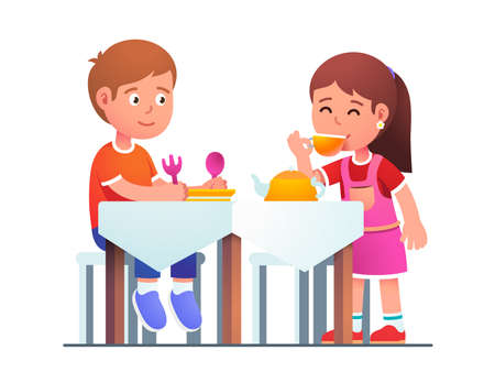 Kids boy and girl playing family dinner together