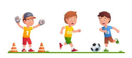 Boys playing soccer game together, kicking ball 矢量图像