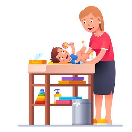 Mother changing diaper to happy toddler baby boy Vecteurs