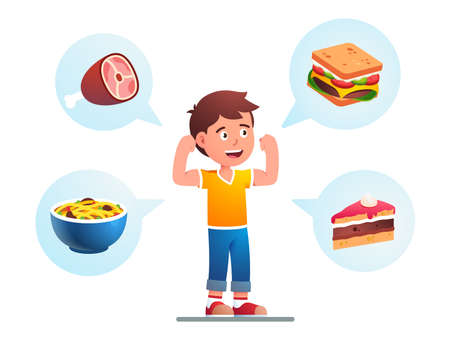 Food makes child growing strong, healthy concept