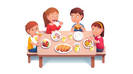 Kids eating breakfast food and drinking juice