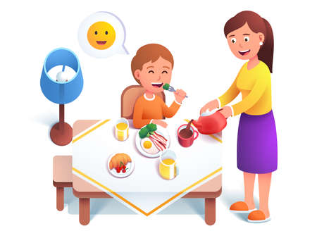 Kid eating breakfast meal, Mother serving table