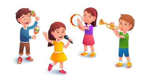 Kids boys and girls music band playing together