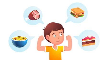 Food makes child boy growing strong concept