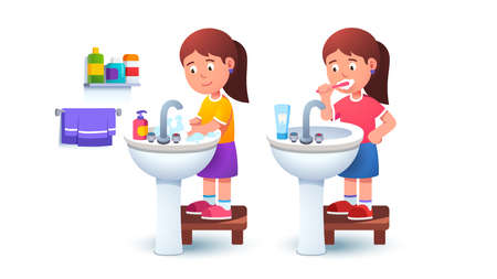 Kid girl washing hands and brushing teeth
