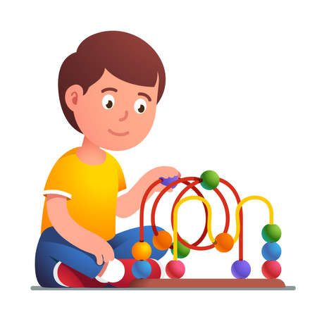 Boy playing wooden bead maze roller coaster toy Çizim