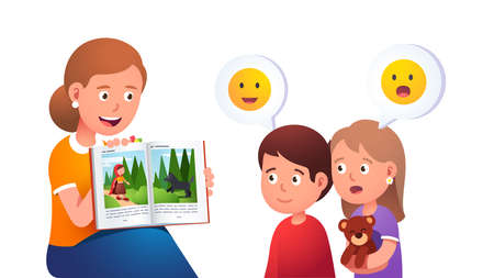 Mother reading to kids and telling a story Çizim