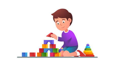 Kids playing wooden blocks building tower toy Ilustrace