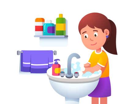 Kid girl washing hands at washbowl sink basin 矢量图像