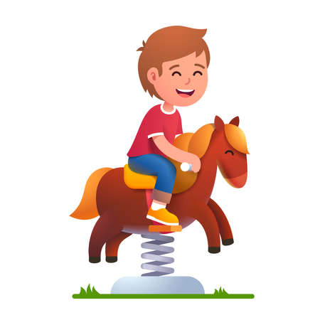 Preschool kid play riding rocking horse on spring
