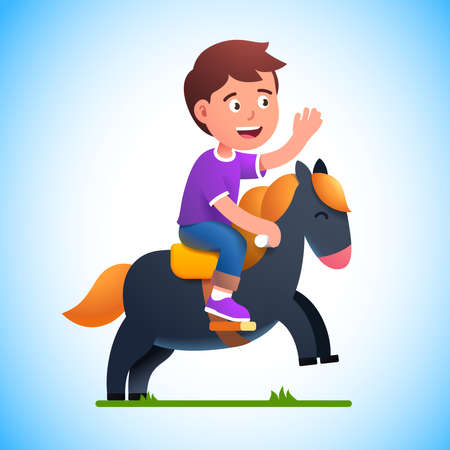 Preschool kid boy play riding toy horse