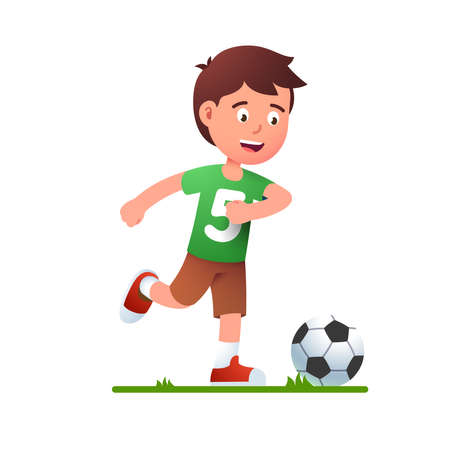 Boy playing soccer game. Kid in football uniform Çizim