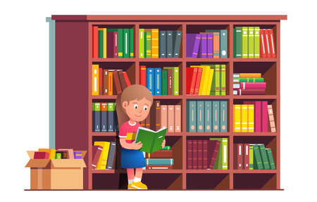 Kid reading book leaning on bookcase full of books