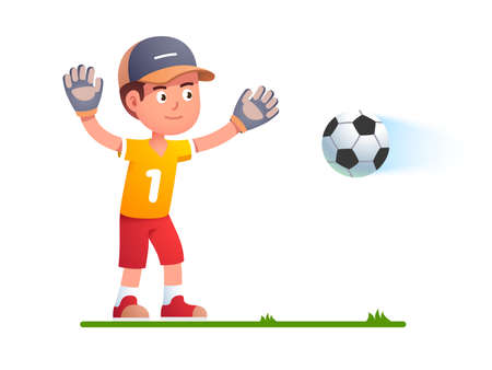 Goalkeeper boy kid trying to catch soccer football Ilustrace
