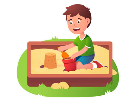 Child sandbox game. Happy kid play in sand pit Ilustrace