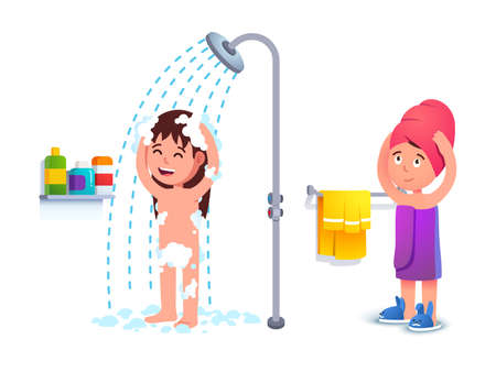 Little girl taking shower. Kid using towel Çizim
