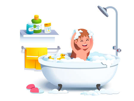Girl kid having bath washing head and body
