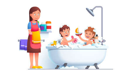 Boy and girl siblings family bathing playing games