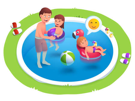 Kids and father swimming in back yard pool