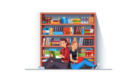 Man and woman couple reading books together